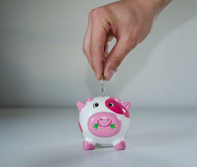 豚の貯金箱にコインを投じる写真