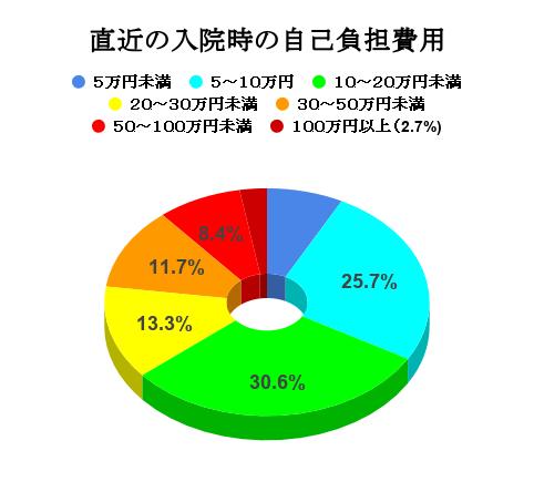 直近の入院時の自己負担費用の円グラフ