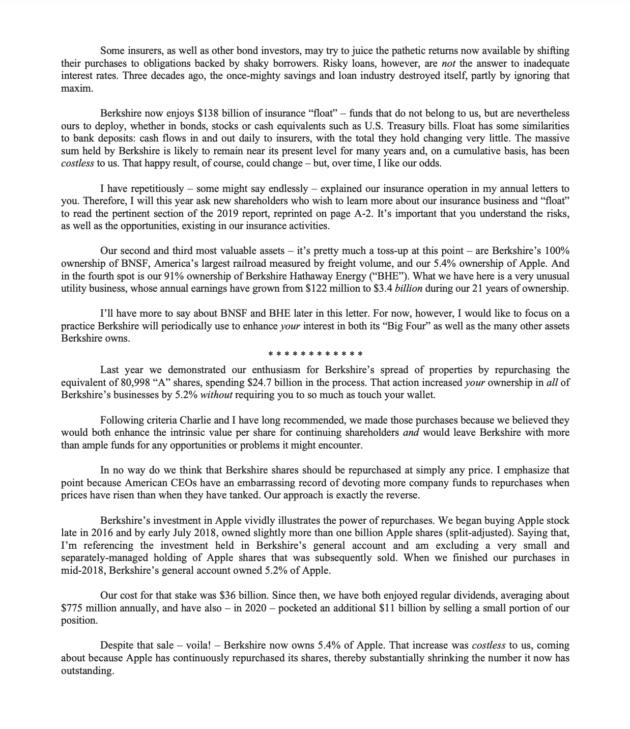 バフェットの手紙2020